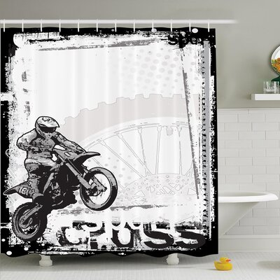 Inspirational Motocross Racer Shower Curtain Set Size: 75 H x 69 W