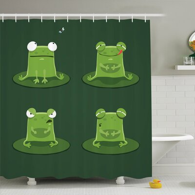Kids Room Decor Frogs in Pond Shower Curtain Set Size: 75 H x 69 W