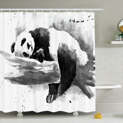 Sleeping Panda Shower Curtain Set Size: 75 H x 69 W