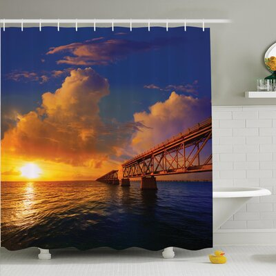 Nature Romantic Scenery Ocean Shower Curtain Set Size: 75 H x 69 W
