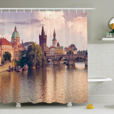 Tamekia Prague River and Bridge Shower Curtain Set Size: 70 H x 69 W