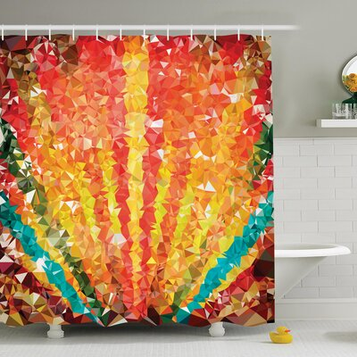 Rainbow with Diamonds Shower Curtain Set Size: 75 H x 69 W
