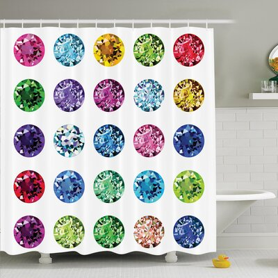 Bright Gems Bridal Shower Curtain Set Size: 70 H x 69 W