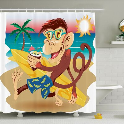 Monkey Hipster Holiday Surf Shower Curtain Set Size: 70 H x 69 W