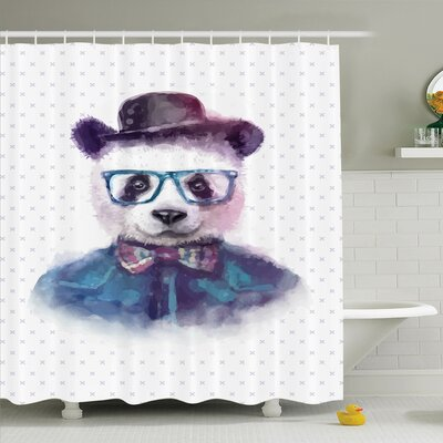 Animal Hipster Panda with Tie Shower Curtain Set Size: 84 H x 69 W