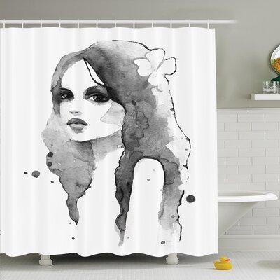 Watercolor Portrait Art Shower Curtain Set Size: 70 H x 69 W