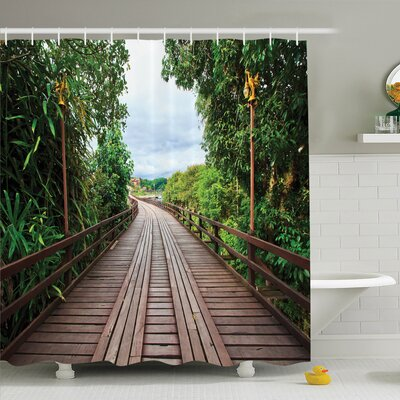 Tropical Wooden Bridge Exotic Shower Curtain Set Size: 70 H x 69 W