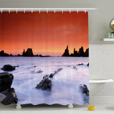 Scenery House Air on Rocky River at Lights Shore Wild Exotic Marine Life Design Shower Curtain Set Size: 75 H x 69 W