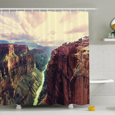 House View of the Canyon with Mystical Narrow Long River Line Primitive Forces of Nature Shower Curtain Set Size: 84