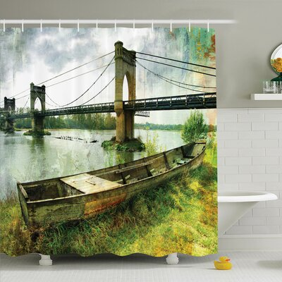 Vintage Bridge and Old Boat Shower Curtain Set Size: 75 H x 69 W