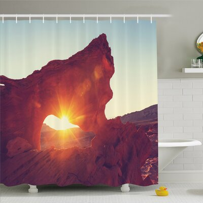 House Sun Reflections over Ancient Cave Little Cliff Region Artifact Shower Curtain Set Size: 84 H x 69 W