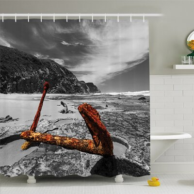 Ocean Weathered Aged Decayed Flaking Metal Anchor on the Beach by the Hills Shower Curtain Set Size: 75 H x 69 W