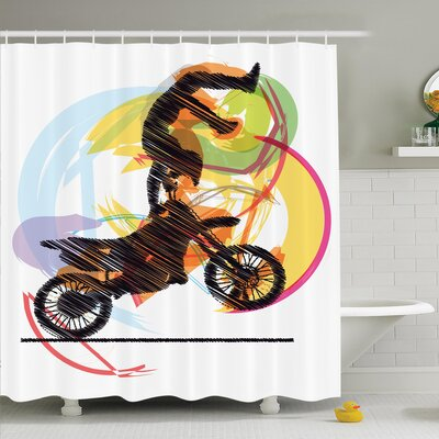 Performing Biker Shower Curtain Set Size: 70 H x 69 W