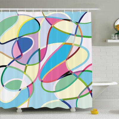 Modern Art Home Odd Experimental Altering Active Motion States Artwork Shower Curtain Set Size: 84 H x 69 W
