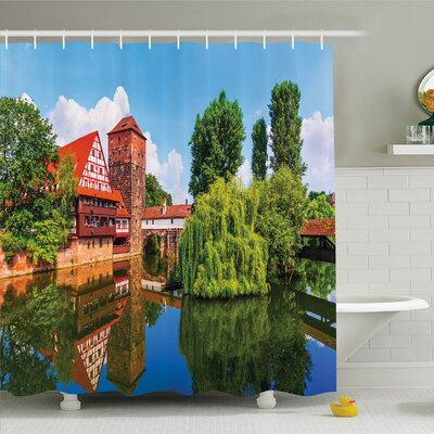 Rustic Summer View German Town Shower Curtain Set Size: 84 H x 69 W