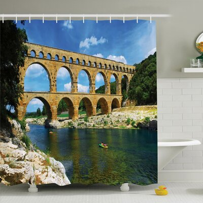 Nature Ancient Roman Bridge Shower Curtain Set Size: 75 H x 69 W
