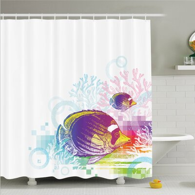 Fish Sea Animals Kids Shower Curtain Set Size: 75 H x 69 W