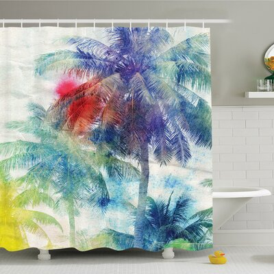 Palm Tree Retro Watercolor Silhouettes of Palm Trees Stains on Picture Tropical Paradise Shower Curtain Set Size: 70 H x 69 W