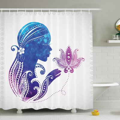 Lady with Floral Hair Art Shower Curtain Set Size: 70 H x 69 W