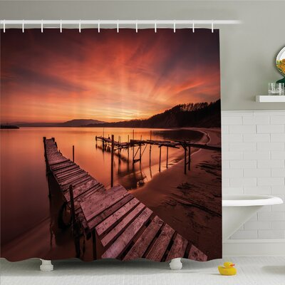 Scenery House Old Rustic Pier on Beach and Romantic Tranquil Sky Pure Twilight Shower Curtain Set Size: 70 H x 69 W
