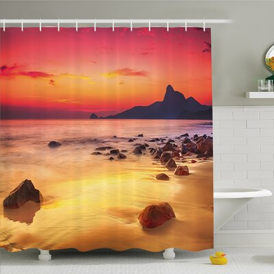 Scenery House Mystic Sunrise over the Sea with Stones and Cliffs Shower Curtain Set Size: 70 H x 69 W