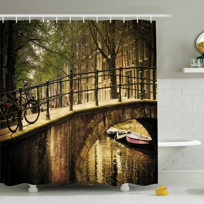 Donnell Romance Bridge Canal Shower Curtain Set Size: 75 H x 69 W