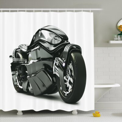 Future Ride Motorcycle Shower Curtain Set Size: 70 H x 69 W