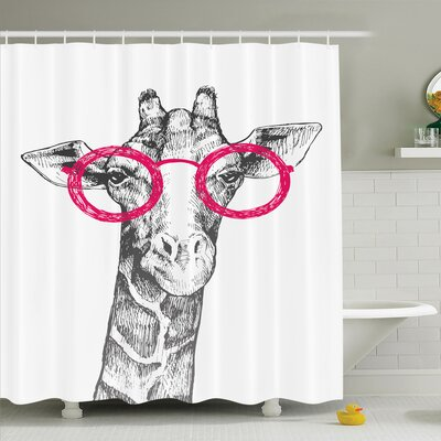 Giraffe Hipster Animal Glasses Shower Curtain Set Size: 70 H x 69 W