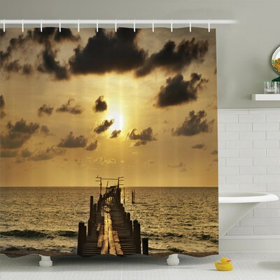 Nautical Wooden Deck Sunset Shower Curtain Set Size: 75 H x 69 W
