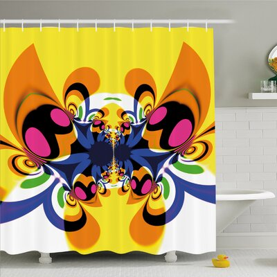 Modern Art Home Trippy Butterfly with Morphing Dynamic Forms Digital Made Entoptic Design Shower Curtain Set Size: 84 H x 69 W