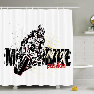 Natacha  Grungy Race Passion Shower Curtain Set Size: 70 H x 69 W