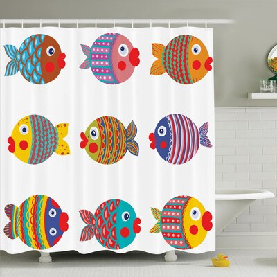Kids Room Decor Fish Family Shower Curtain Set Size: 84 H x 69 W