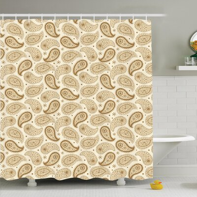Paisley Oriental Persian Shower Curtain Set Size: 84 H x 69 W