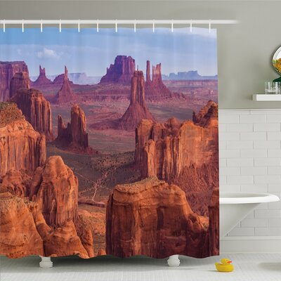 House View of Deep Canyon with Different Red Rocks Discovery Art�Shower Curtain Set Size: 75 H x 69 W