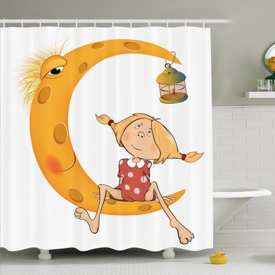 Teen Sitting on the Moon Shower Curtain Set Size: 84 H x 69 W