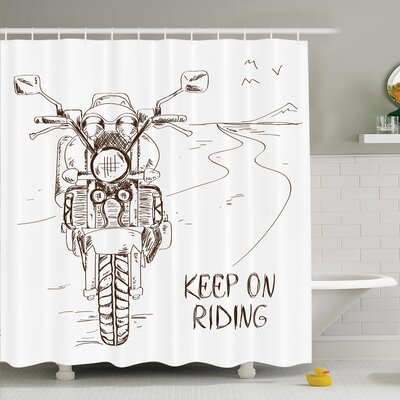 Juergen Keep on Riding Shower Curtain Set Size: 75 H x 69 W