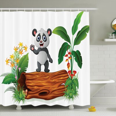 Maeve Baby Panda Posing Shower Curtain Set Size: 70 H x 69 W