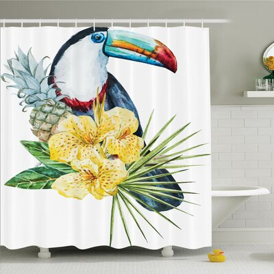 Tropical Toucan Bird Exotic Shower Curtain Set Size: 70 H x 69 W