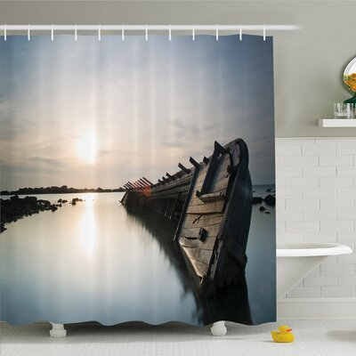 Ocean Sinking Rustic Boat Crash in the Lake Landscape with Horizon on Back Shower Curtain Set Size: 84 H x 69 W