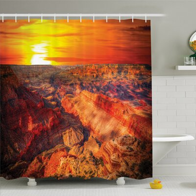House Horizon Overview Unique Grand Canyon with Sunset Effect Shower Curtain Set Size: 75 H x 69 W