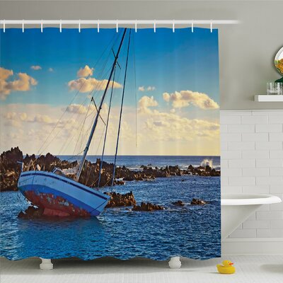 Ocean Yacht in the Sea Surrounded by Ledge Rocks Coastal Incident Shroud Crash Shower Curtain Set Size: 75 H x 69 W