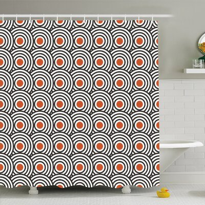 Modern Art Home Retro Minimalist Concentric Spiral Vortex Graphic Art Work Shower Curtain Set Size: 75 H x 69 W