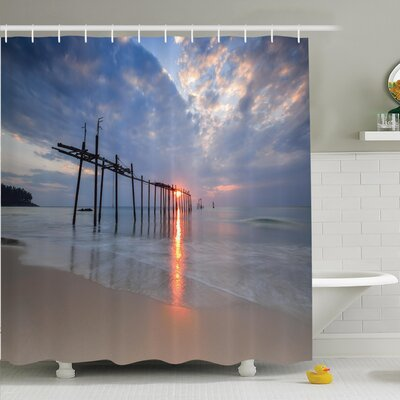 Nautical Sunset Ocean Romance Shower Curtain Set Size: 84 H x 69 W