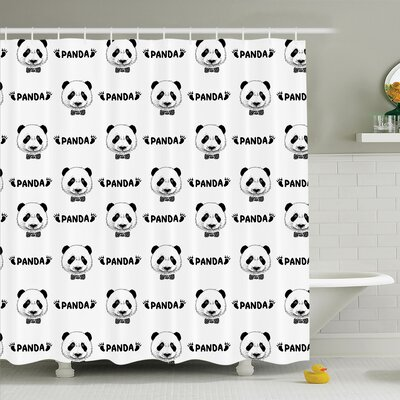 Panda Bow Tie Shower Curtain Set Size: 70 H x 69 W