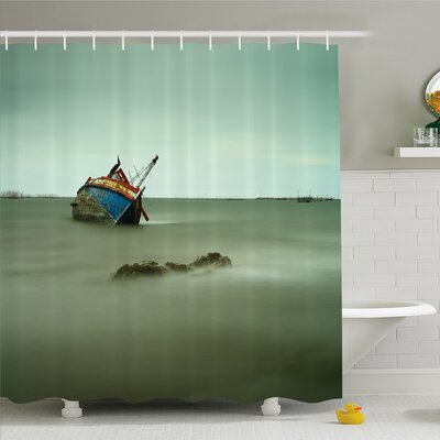 Ocean Decadent Derelict Fishing Boat Bow in Thailand Day Light Sunrise Shower Curtain Set Size: 75 H x 69 W