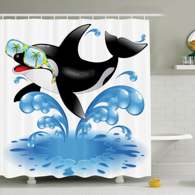 Kids Whale with Sunglasses Shower Curtain Set Size: 70 H x 69 W