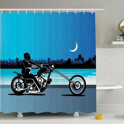 Chopper Motorcycle Shower Curtain Set Size: 70 H x 69 W