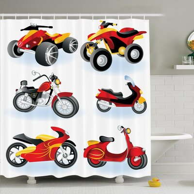Myaa Motorcycle Icon Hippie Shower Curtain Set Size: 84 H x 69 W