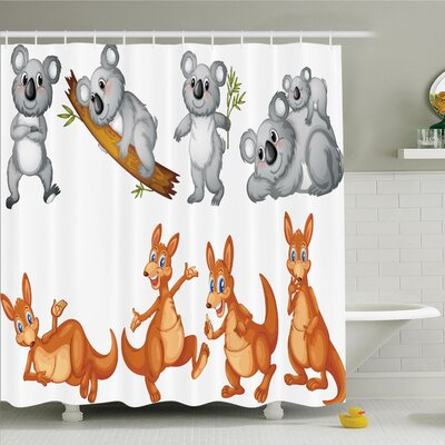 Lizbeth Baby Kangaroos and Koalas Shower Curtain Set Size: 70 H x 69 W