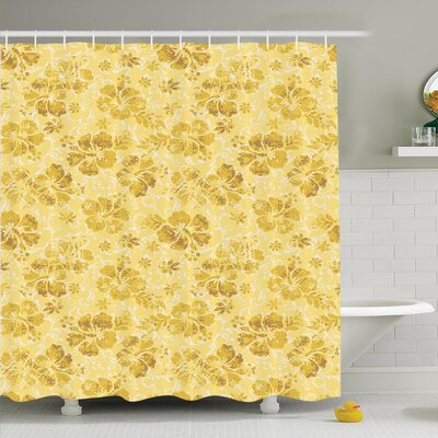 Floral Golden Hibiscus Flowers Shower Curtain Set Size: 70 H x 69 W